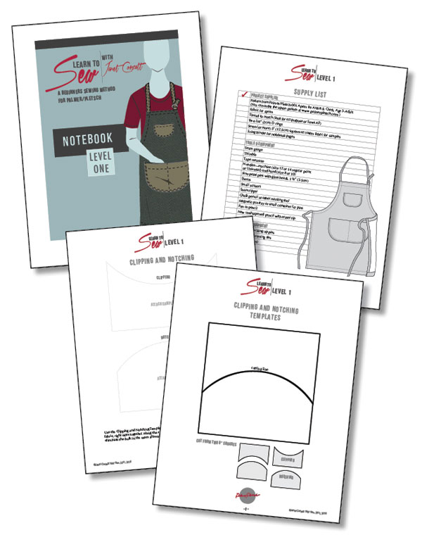 Learn to Sew Level 1 notebook pages