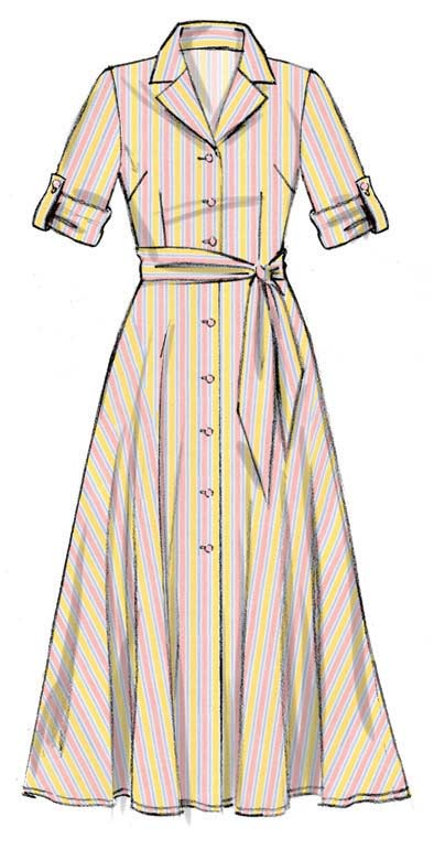McCall\'s 6891 Pattern Retro Dress With Sash - Vintage Sewing
