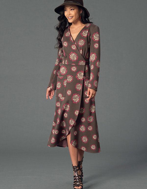 Mccalls 7246 Pattern Knit Wrap Curved Hem Dresses