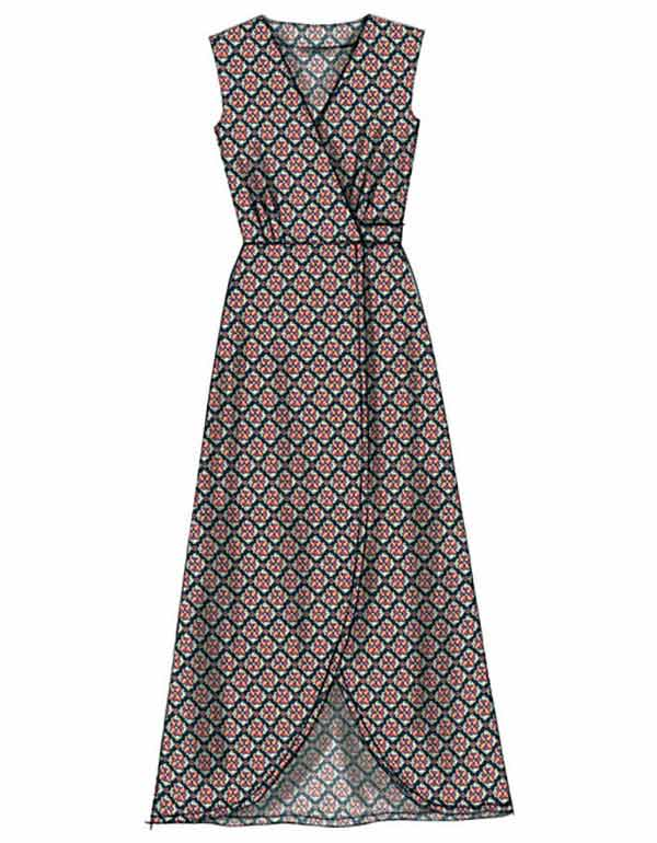 Knitting Pattern Wrap Dress : McCalls 7246 Pattern Knit Wrap Curved Hem Dresses