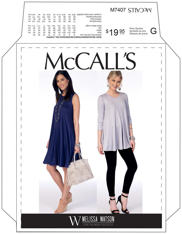 MCCALL'S 7407 PATTERN FLARE  KNIT TOP AND DRESS