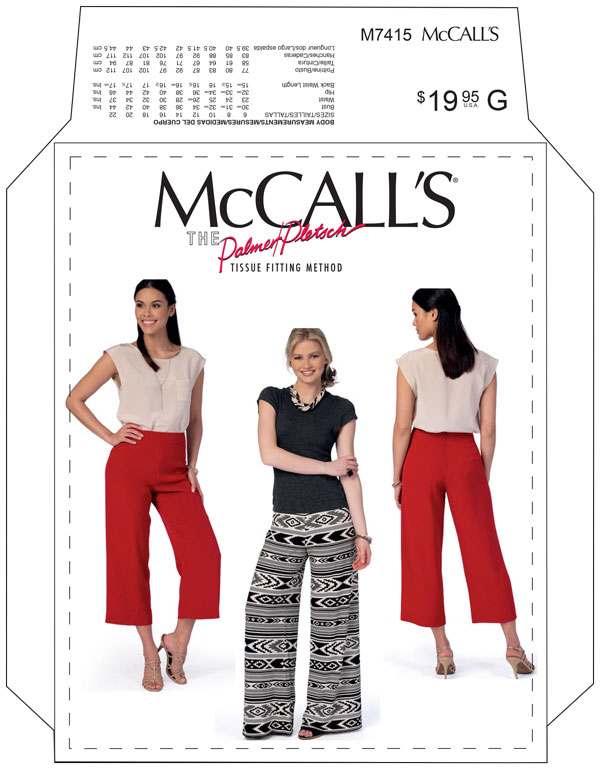 MCCALL'S 7415 PATTERN THE NO SIDE SEAM PANTS + SHORTS