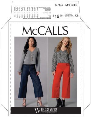 MCCALL'S PATTERN 7445 CROPPED FLARE JEAN AND CROPPED V-NECK SWEATER