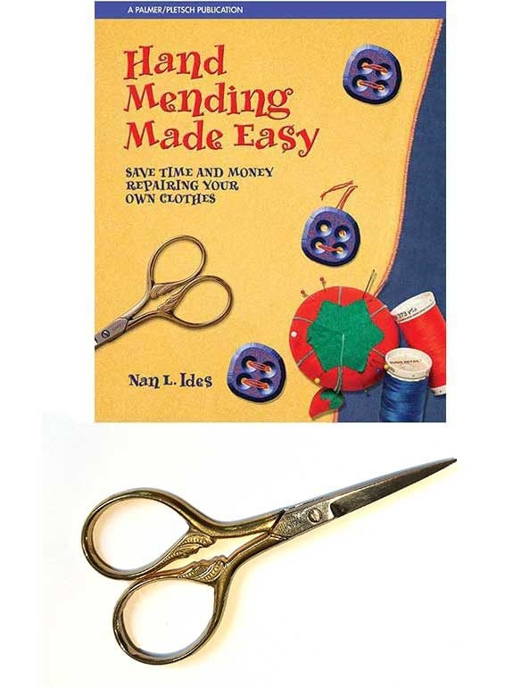 Hand Mending Made Easy book plus Italian embroidery scissors
