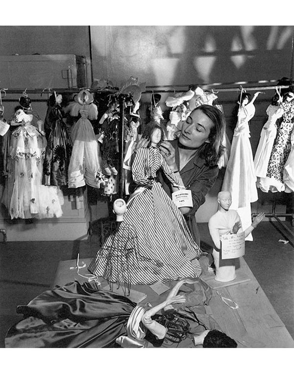 Eliane Bonabel working on a mannequin
