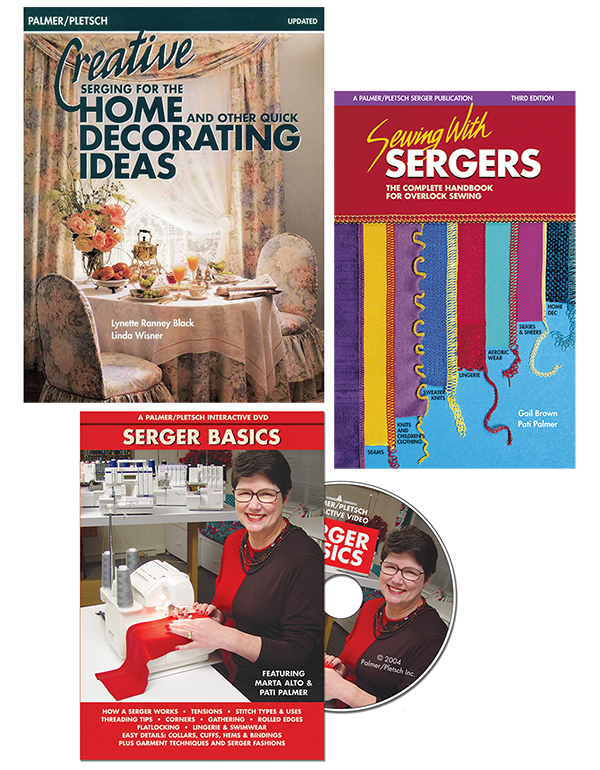 Sewing With Sergers book, Creative Serging for the Home book, and Serger Basics DVD